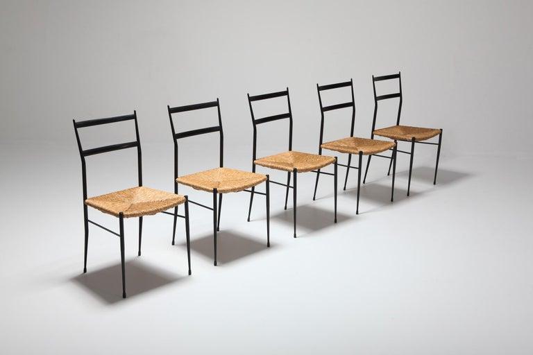 Mid-Century Modern Gio Ponti Superleggera Dining Chairs Edition 'De Bijenkorf' Set of Five For Sale