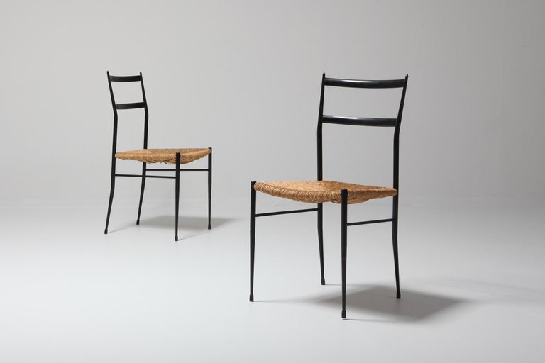 European Gio Ponti Superleggera Dining Chairs Edition 'De Bijenkorf' Set of Five For Sale