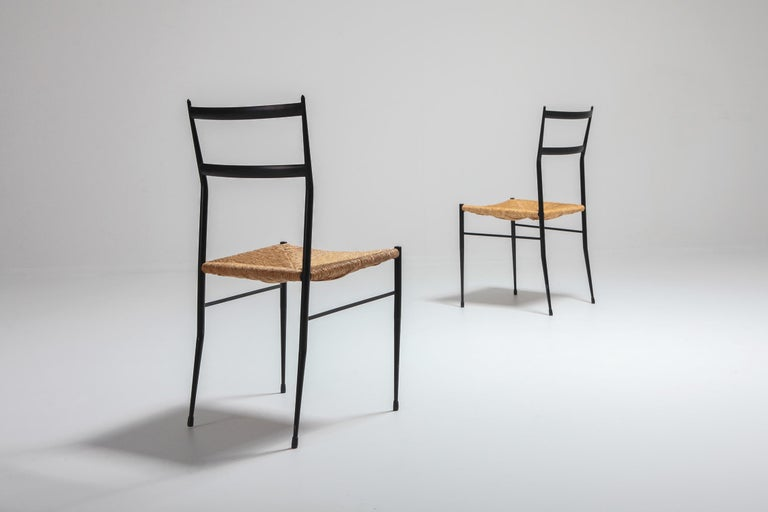 Gio Ponti Superleggera Dining Chairs Edition 'De Bijenkorf' Set of Five In Good Condition For Sale In Antwerp, BE