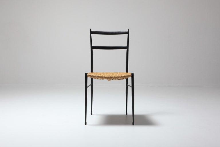Mid-20th Century Gio Ponti Superleggera Dining Chairs Edition 'De Bijenkorf' Set of Five For Sale