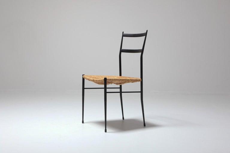 Metal Gio Ponti Superleggera Dining Chairs Edition 'De Bijenkorf' Set of Five For Sale