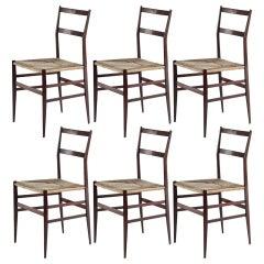 Gio Ponti Superleggera Set of Six Chairs Italian Design Cassina, 1951