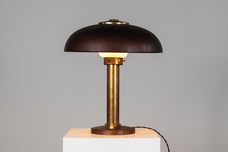 Exquisite table lamp in aluminium designed by Gio Ponti for Pollice in 1940s. Available with expertise released by Gio Ponti Archives.