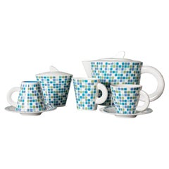 Gio Ponti Tea Set for Pozzi Ginori in Blue and White Ceramic, 1970s