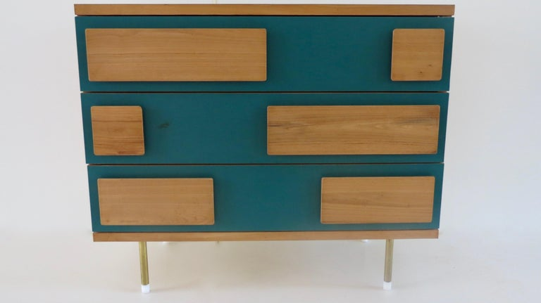 Gio Ponti cabinet from Hotel Parco dei Principi, Rome, 1964 Important cabinet by Gio Ponti produced for Hotel Parco dei Principi in Rome, 1964 Chest of drawers produced by Giordano Chiesa Three drawers chestnut wood Formica brass