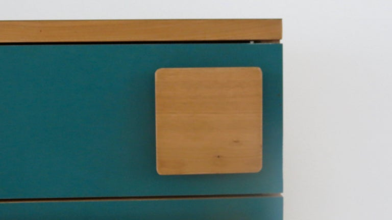 Italian Gio Ponti Three Drawers Green Cabinet from Hotel Parco dei Principi, Rome, 1964 For Sale