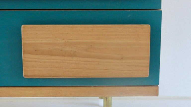 Mid-20th Century Gio Ponti Three Drawers Green Cabinet from Hotel Parco dei Principi, Rome, 1964 For Sale