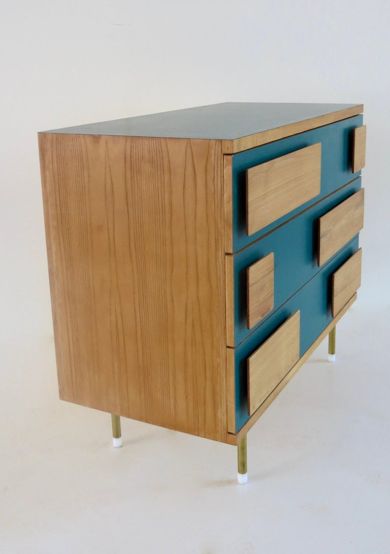 Brass Gio Ponti Three Drawers Green Cabinet from Hotel Parco dei Principi, Rome, 1964 For Sale