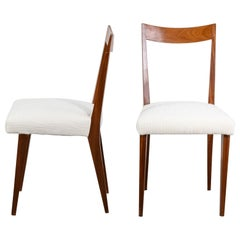 Giò Ponti Two Dining Chairs Wooden Structure and Ivory Fabric