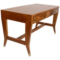 Gio Ponti Two-Drawer Walnut Desk for The University of Padua, Italy, circa 1950