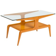 Gio Ponti Two-Tiered Ash Coffee Table with Glass Top, Italy 1950s
