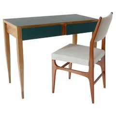 """Gio Ponti Vanity Console Desk Formica from Hotel PdP Roma, 1964 and """"602"""" Chair"""