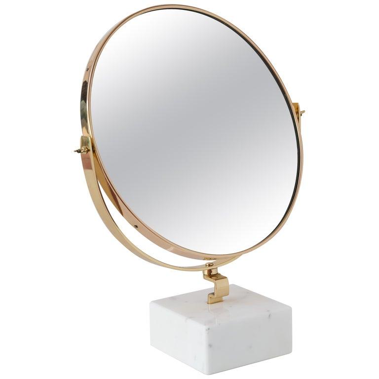 "Gio Ponti Vanity Mirror ""Fontana Arte"" on White Carrara Marble Block, 1955 For Sale"