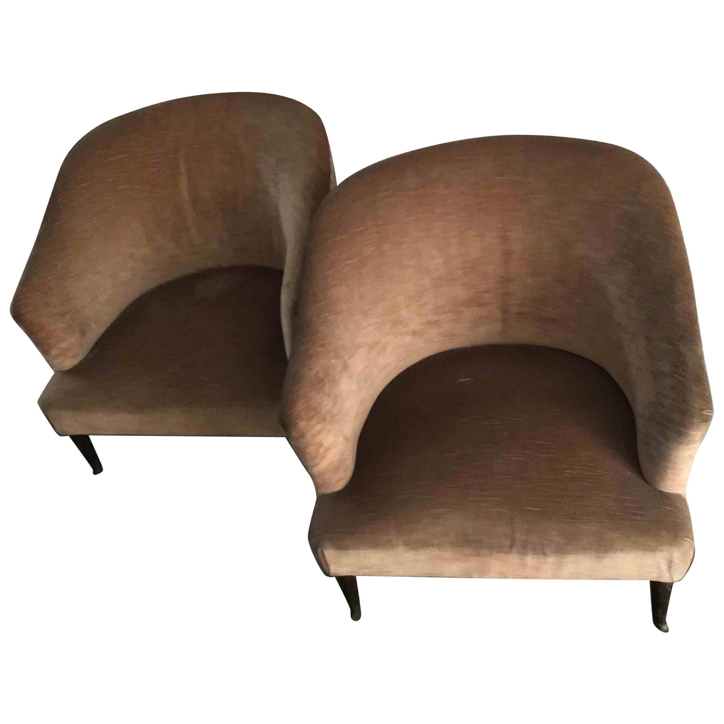 Gio'  Ponti Velvet Upholstered Armchairs Rosewood Wood Feet, 1950, Italy