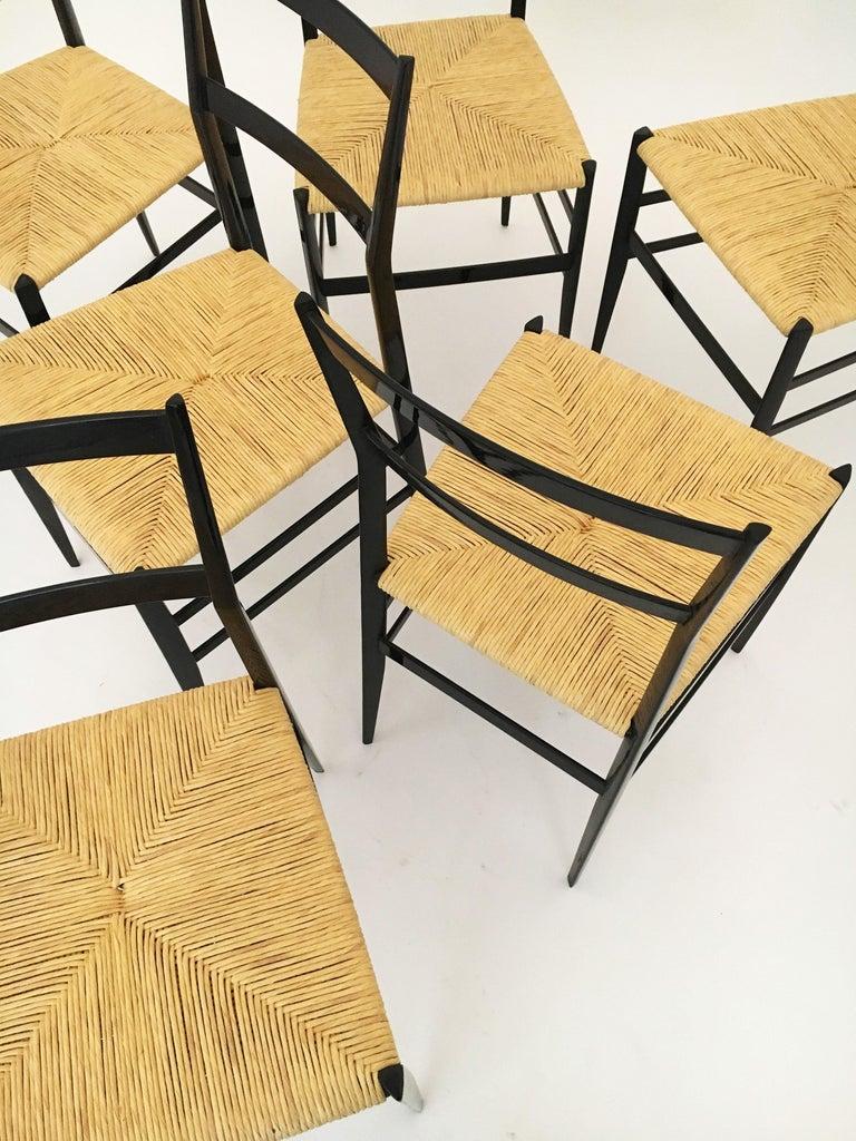 Gio Ponti Vintage Superleggera Set of Six Dining Chairs Cassina, Italy, 1958 For Sale 7
