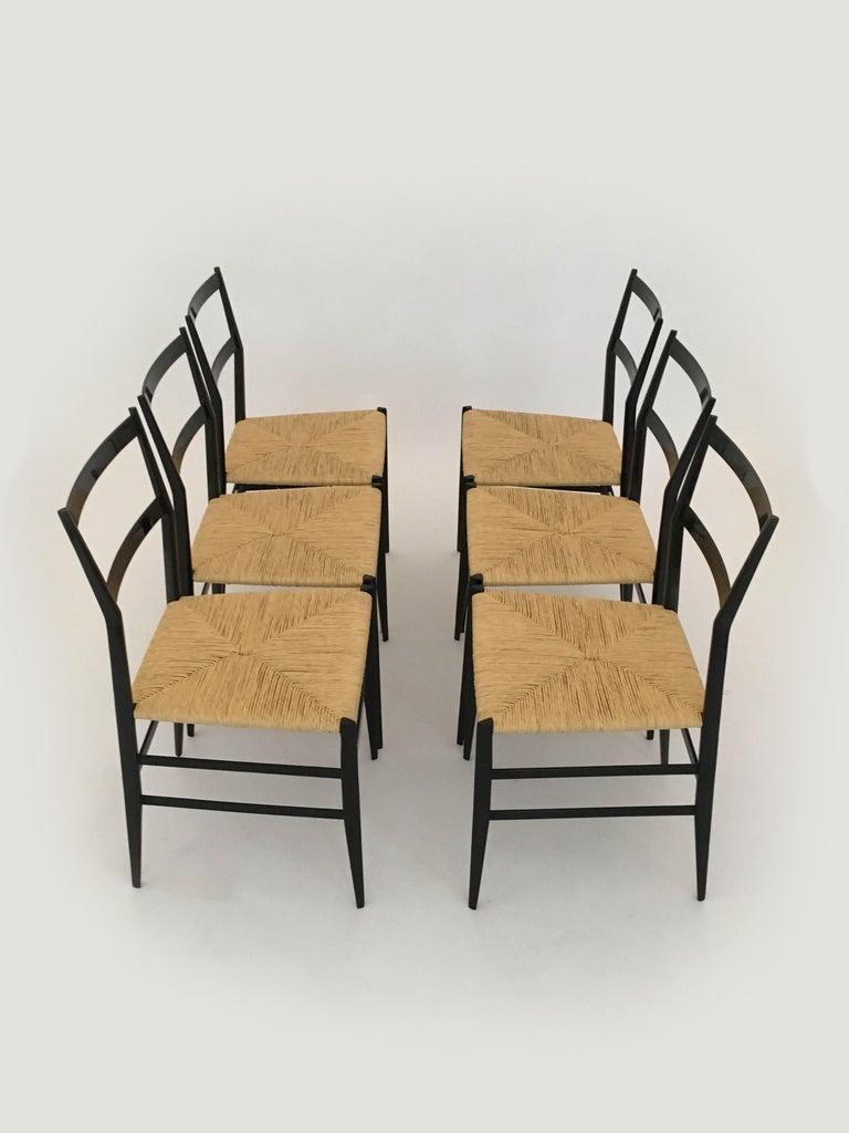 Gio Ponti Vintage Superleggera Set of Six Dining Chairs Cassina, Italy, 1958 For Sale 9