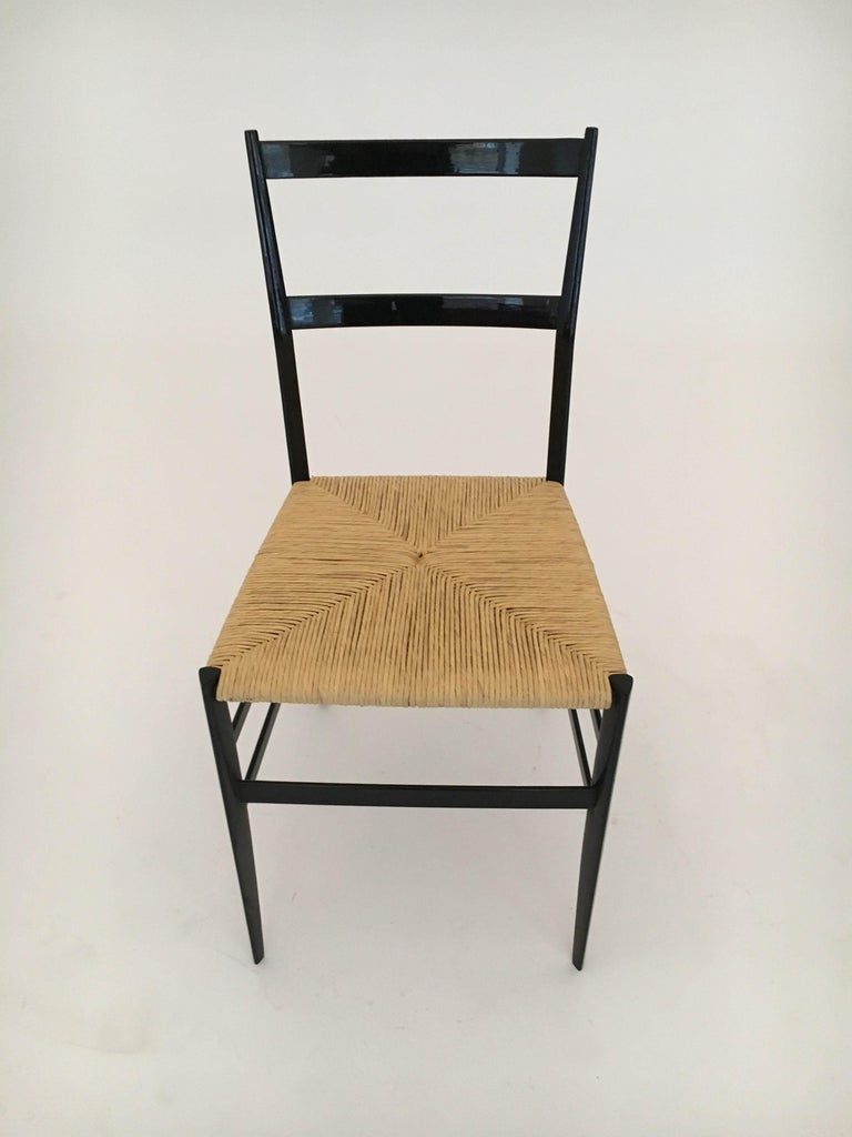 Gio Ponti Vintage Superleggera Set of Six Dining Chairs Cassina, Italy, 1958 In Good Condition For Sale In Vienna, Vienna
