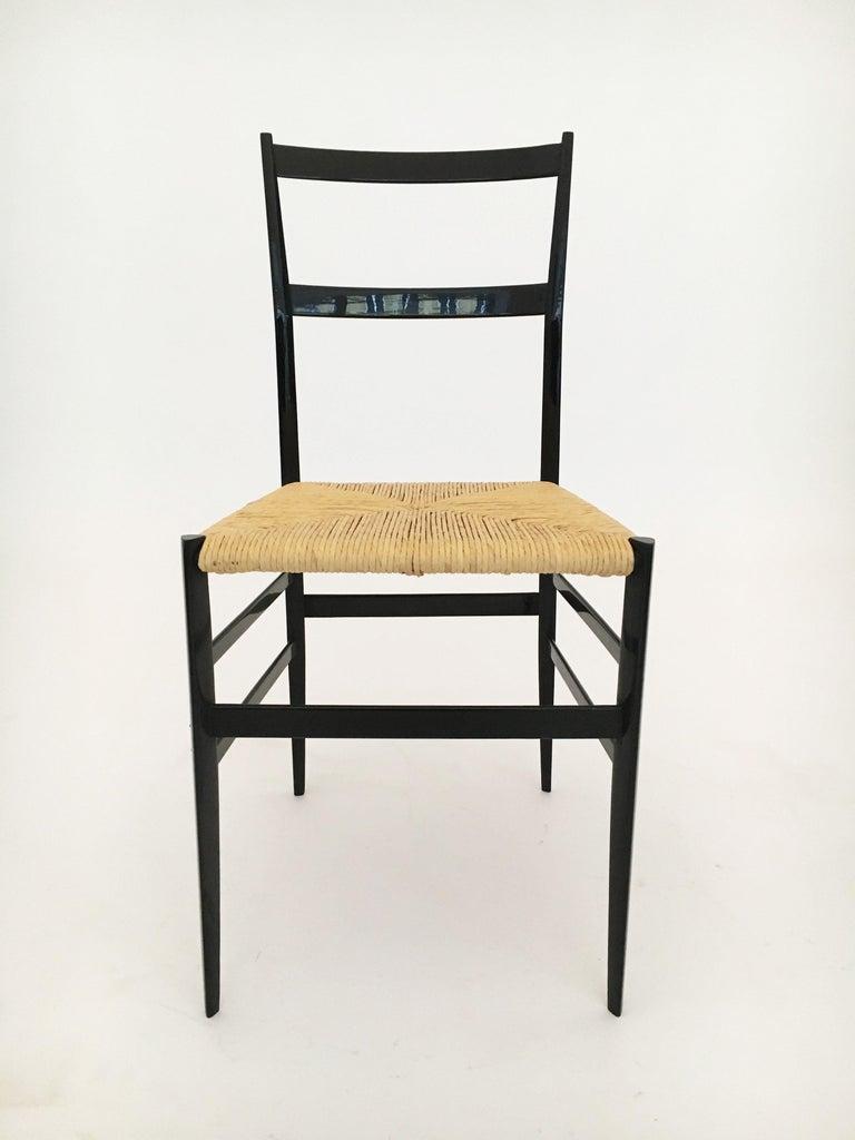 Mid-20th Century Gio Ponti Vintage Superleggera Set of Six Dining Chairs Cassina, Italy, 1958 For Sale