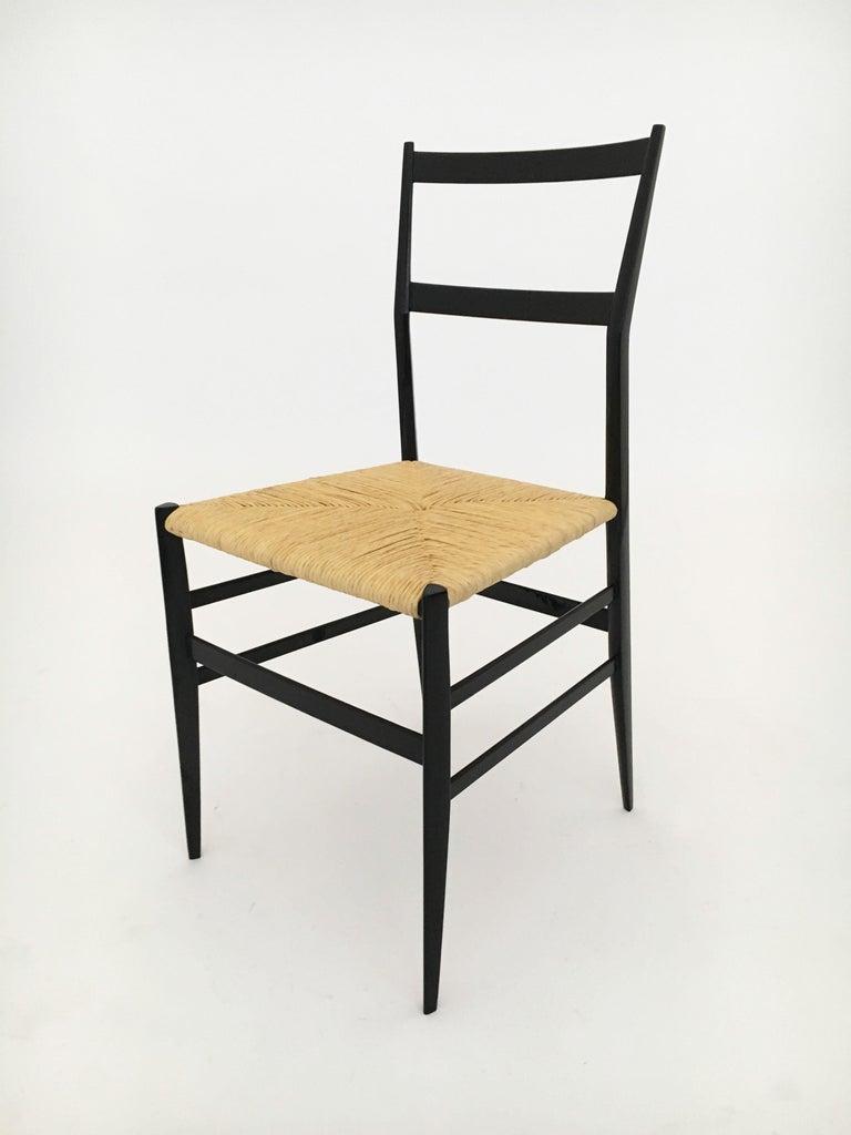 Cane Gio Ponti Vintage Superleggera Set of Six Dining Chairs Cassina, Italy, 1958 For Sale