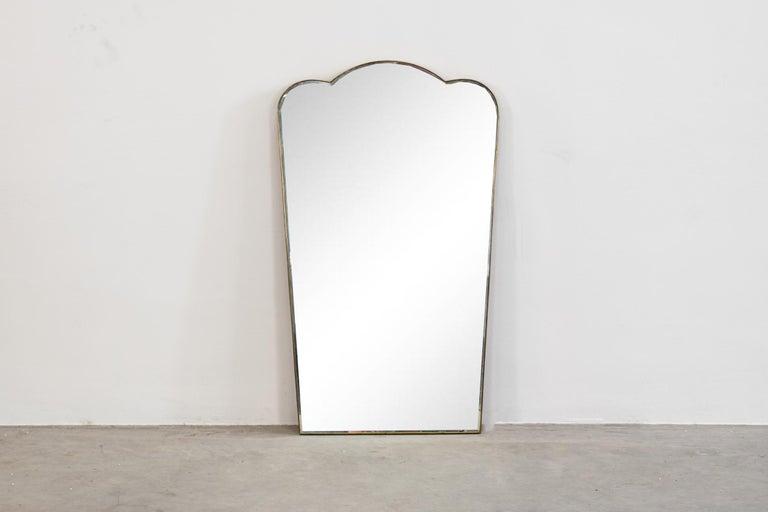 Mid-Century Modern Gio Ponti Wall Mirror with Brass Frame Fontana Arte, 1930 For Sale