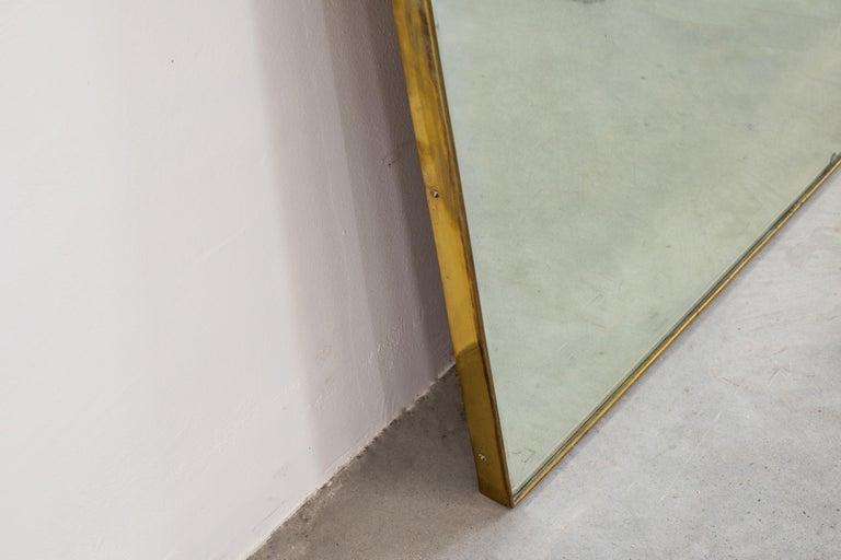 Italian Gio Ponti Wall Mirror with Brass Frame Fontana Arte, 1930 For Sale