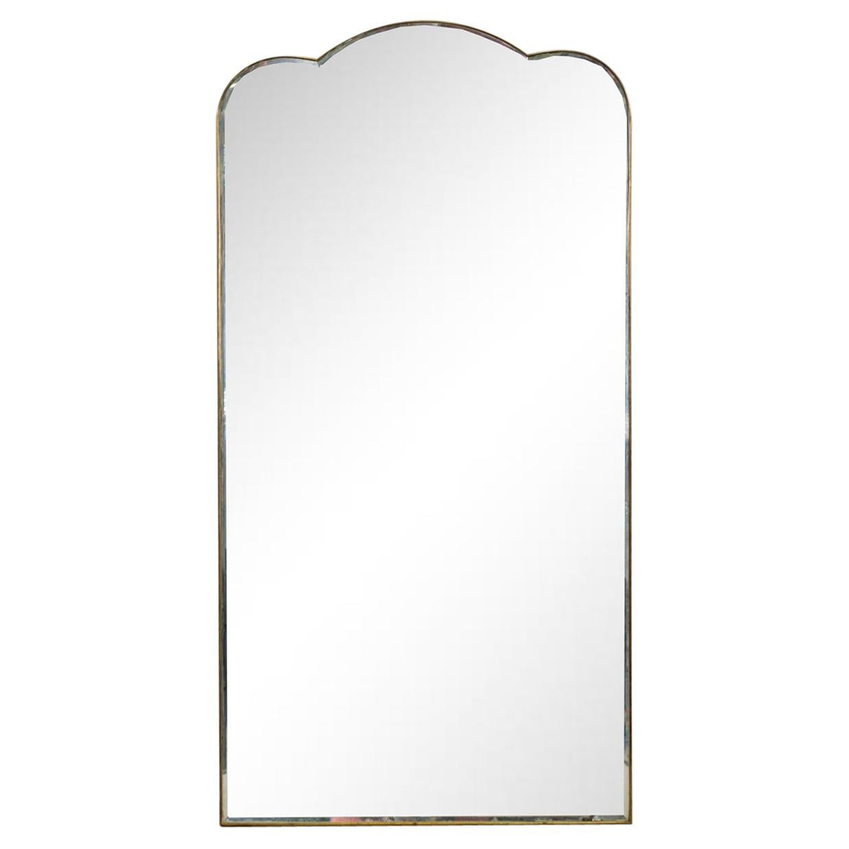 Gio Ponti Wall Mirror with Brass Frame Fontana Arte, 1930