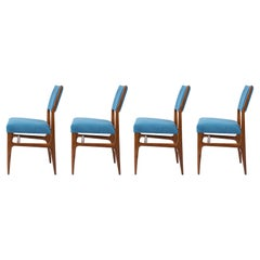 Gio Ponti Walnut Dining Chairs for Singer & Sons with Blue Upholstery, Set of 4