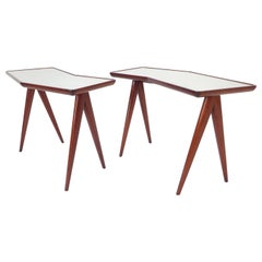 Gio Ponti Pair of Walnut Side Tables Mirrored Glass Tops Asymmetrical Forms