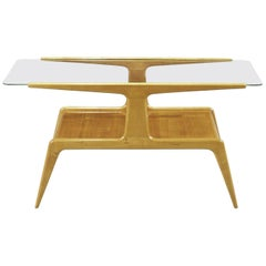 Gio Ponti Wooden and Crystal Coffee Table with Two Shelves from 1950s