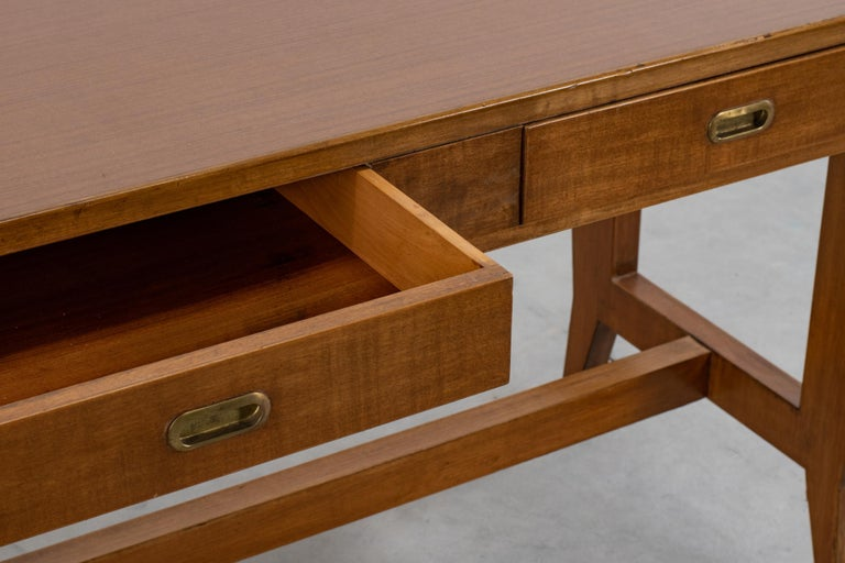 Mid-20th Century Gio Ponti Wooden Desk from the Banca Nazionale del Lavoro, Italy, 1950 For Sale