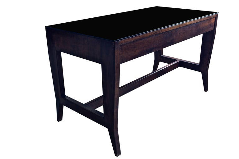 Italian Gio Ponti Wooden Desk in Black Opaline Glass by Gio Ponti For Sale