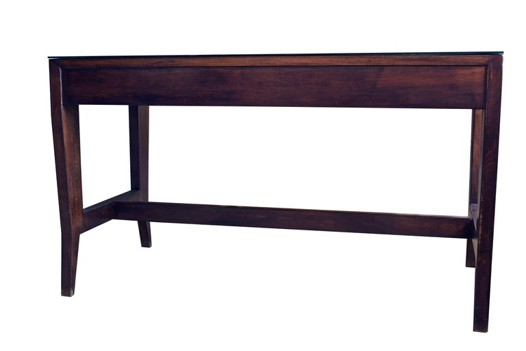 Glazed Gio Ponti Wooden Desk in Black Opaline Glass by Gio Ponti For Sale