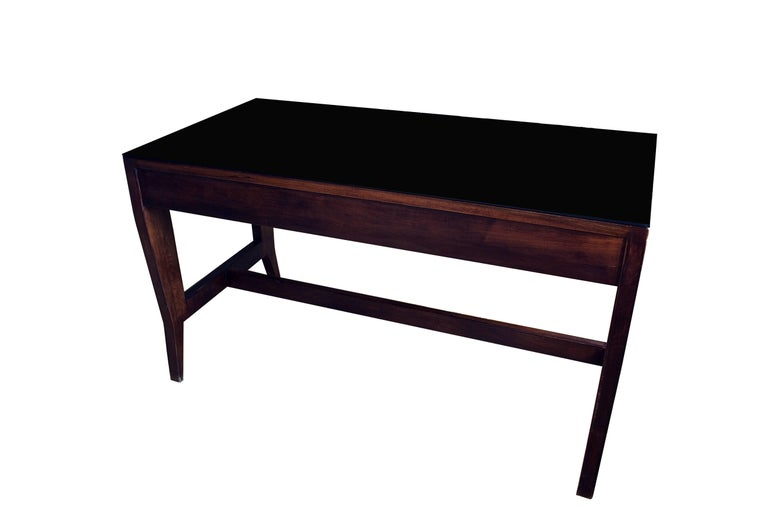 Gio Ponti Wooden Desk in Black Opaline Glass by Gio Ponti In Excellent Condition For Sale In Lugano, CH
