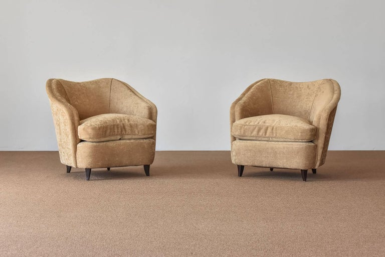 Organically shaped lounge chairs designed by Gio Ponti. Produced by Casa e Giardino in the 1940s. Reupholstered in a high-end beige velvet fabric. Dark stained beech legs.  Comes with a