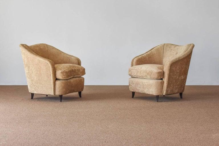 Mid-Century Modern Gio Ponti, Lounge / Armchairs, Beige Velvet, Dark Beech Legs, Italy, 1940s For Sale