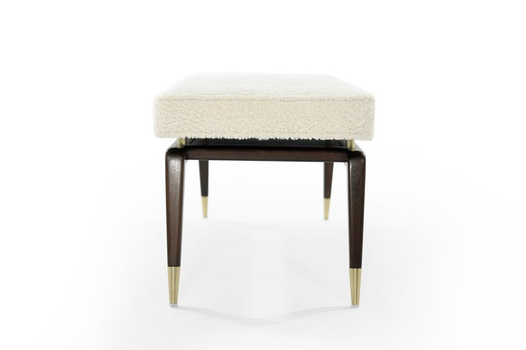 American Gio Walnut Bench in Bouclé For Sale