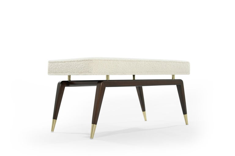 Gio Walnut Bench in Bouclé In New Condition For Sale In Stamford, CT