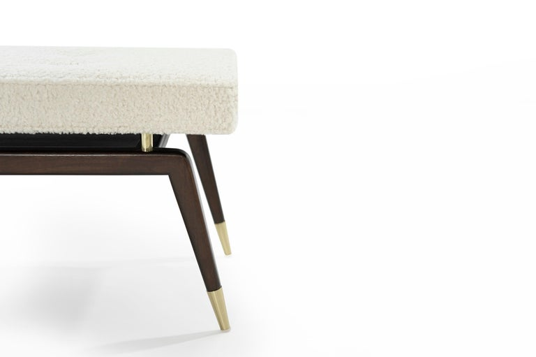 Contemporary Gio Walnut Bench in Bouclé For Sale