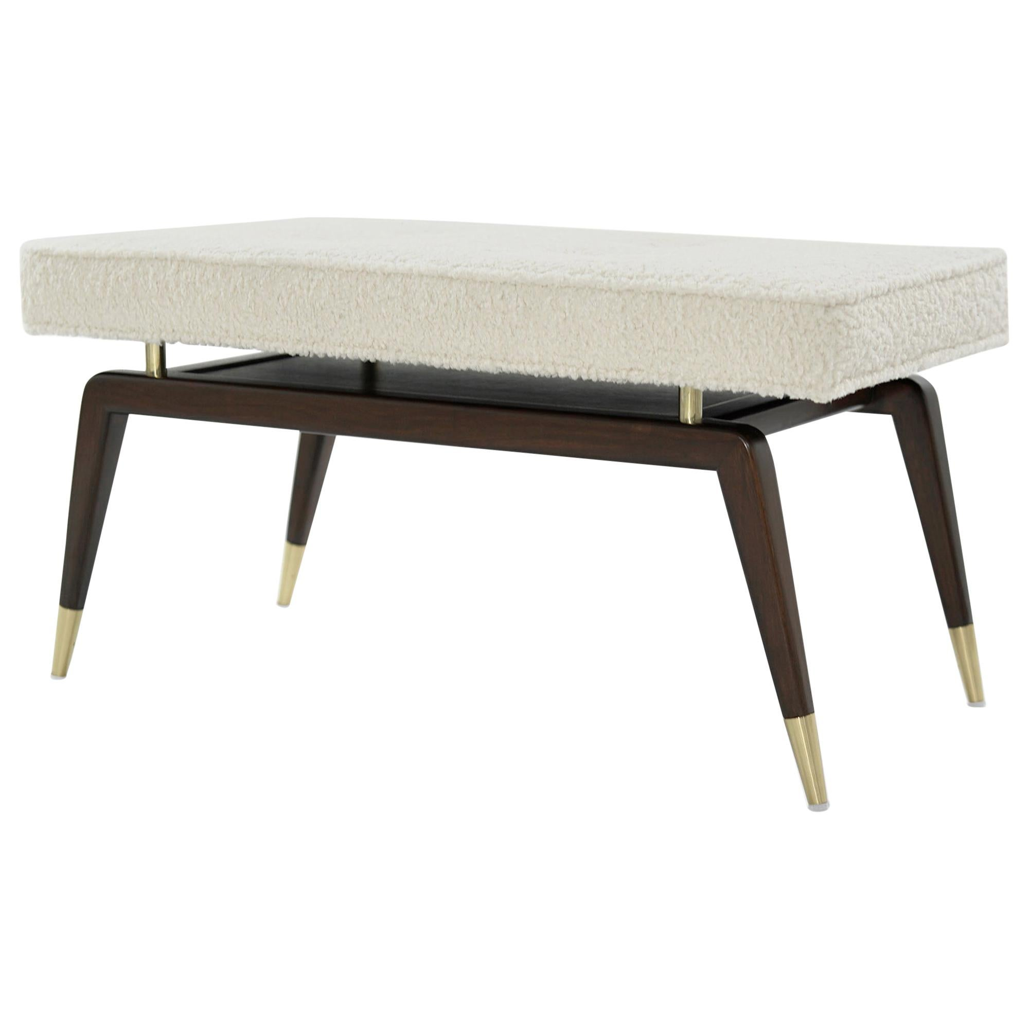 Gio Walnut Bench in Bouclé