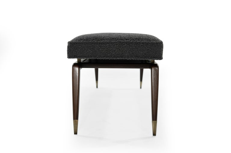 American Gio Walnut Bench in Charcoal Bouclé For Sale