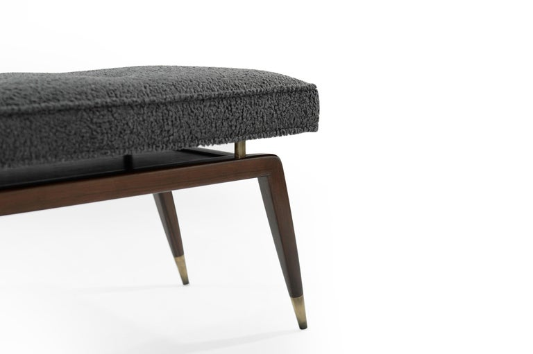 Contemporary Gio Walnut Bench in Charcoal Bouclé For Sale
