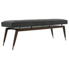 Gio Walnut Bench in Charcoal Bouclé