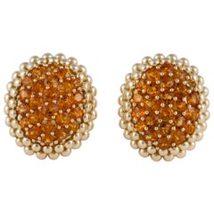 Gioeil Moda Yellow Gold Citrine Clip Earrings
