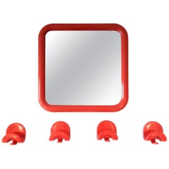 'Gioela' Mirror by Giorgina Castiglioni for Bilumen with Matching Hooks, 1970s