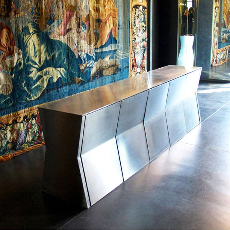 Stainless Steel Gioia-Meller-Marcovicz, The Monolith, a Dining Table and Chairs For Sale