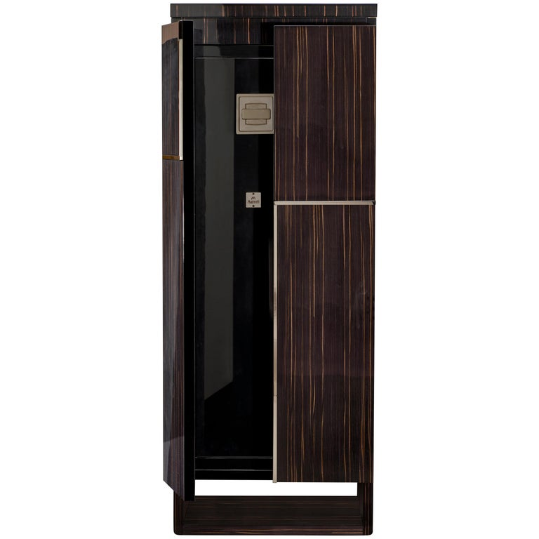 Agresti Gioia Rutenio Contemporary Armored Jewelry Armoire Safe in Ebony  For Sale