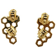 Giordana Castellan Enamel and Gold Honeycomb and Bee Earclips
