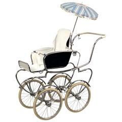 Giordani Midcentury Steel and White Fabric Italian Baby Pram Stroller, 1950s