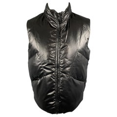GIORDANO CONCEPTS Size S Black Quilted Shiny Puff Zip Hood Vest