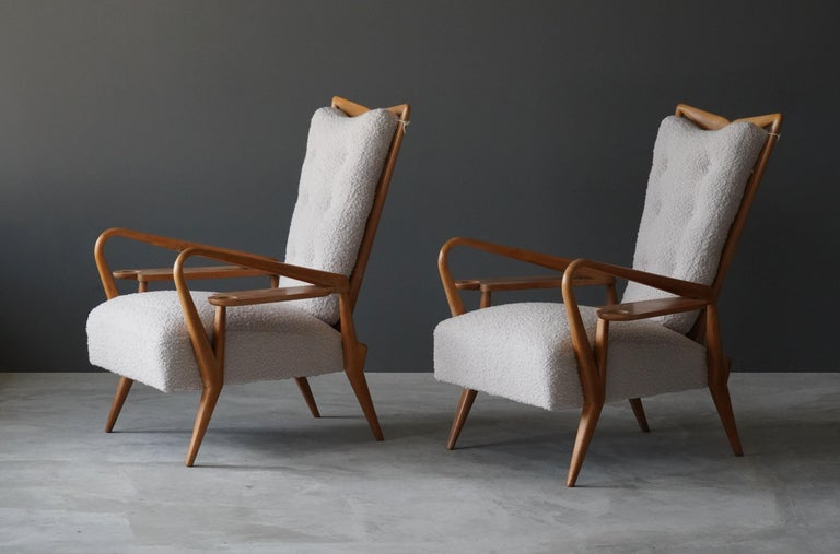 Fabric Giordano Forti 'Attribution', Pair of Lounge Chairs, Maple, Bouclé, Italy, 1940s For Sale